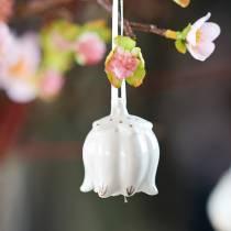Dzwonki ozdobne w kształcie kwiatka białe, złote 4szt.