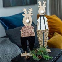 Renifer drewniany figurka dekoracyjna świąteczna 12×6,5cm H45cm 2szt.