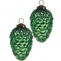Dekoracje adwentowe, dekoracyjne szyszki, owoce jesieni prawdziwe szkło, antyczny wygląd Ø7cm H11,5cm 6szt.