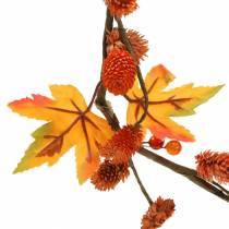 Wianek jesienny z liści klonu i szyszek pomarańczowy 1,28m
