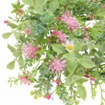 Wieniec łąkowy z koniczyną flokowany różowy, zielony Ø30cm