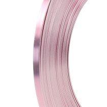 Drut płaski aluminiowy różowy 5mm 10m