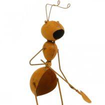 Dekoracja ogrodu, metalowa wtyczka mrówka, wtyczka do roślin ze stali nierdzewnej, mrówka z łopatką