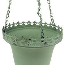 Metalowy kosz na kwiaty zielony Ø21cm H30cm