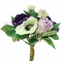Bukiet z anemonów i róż fioletowy, kremowy 30cm