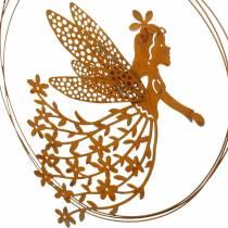 Zawieszka elf kwiatek, wiosenna dekoracja, ozdobny pierścionek z wróżką, patyna Ø17cm 3szt