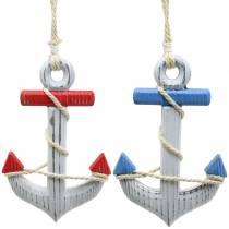 Deco Anchor Wood Red/Blue, White 15×23,5cm Zestaw 2 szt.