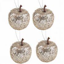 Deco Mini Apple Glitter Champagne Tree Ornament Ø3,5cm 24szt
