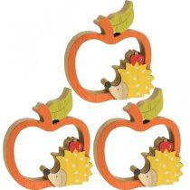 Figurka dekoracyjna jesień, jabłko z jeżem, dekoracja drewniana 16,5×15cm 3szt.