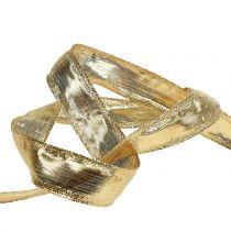 Wstążka z drucianym brzegiem złota 25m