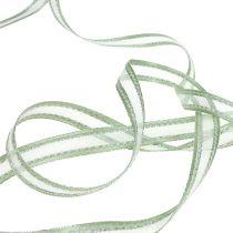 Wstążka prezentowa miętowa zielona ze srebrem 15mm 20m
