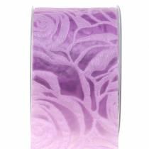 Wstążka dekoracyjna róże szeroka fioletowa 63mm 20m