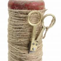 Szpulka na włóczkę z ozdobnymi nożyczkami Ø6,5cm H15cm 2szt. styl vintage