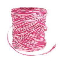 Bast jako wstążka prezentowa różowo-biała 200m