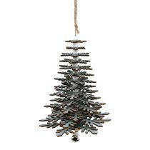 Drzewo do zawieszenia srebro z dzwonkiem 40 cm