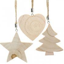 Zawieszka dekoracyjna gwiazda / serce / jodła, dekoracja drewniana, adwentowa H9,5/8/10cm 6szt.