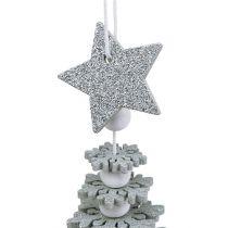 Drzewo do powieszenia z dzwonkiem srebrnym 29cm