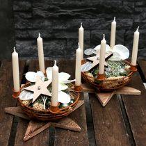 Misa z 4 świecznikami na drzewo brązowa Ø14cm