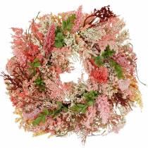 Wieniec wrzosowy sztuczny różowy Ø48cm