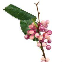 Gałązka jagodowa sztuczna różowa fioletowa 64cm 6szt.