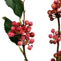 Gałązka jagodowa sztuczna czerwono-biała 64cm 6szt.