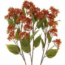 Gałązka dekoracyjna jesienna sztuczna pomarańczowa 63cm 3szt.