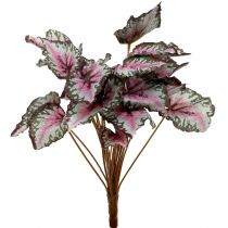 Sztuczny krzew begonii zielony, purpurowy 34cm