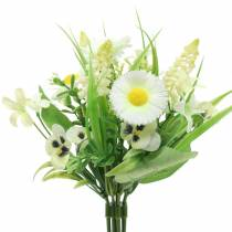 Wiosenny Bukiet z Bellis i Hiacyntów Sztucznych Biały, Żółty 25cm