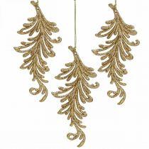 Tree Pendant z brokatem, pióra dekoracyjne do powieszenia, dekoracja świąteczna Złota L16cm 6szt