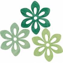 Kwiaty rozsypane zielone, dekoracja wiosenna, drewniane kwiaty do rozsypania, dekoracja stołu 72szt.