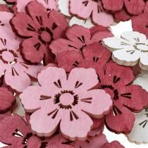 Drewniane kwiaty wiśni, rozsypanka dekoracyjna wiosenna, dekoracja stołu, kwiaty do rozsypania 72szt.