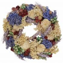 Wieniec dekoracyjny z suszonych traw i sztucznych kwiatów liliowy Ø20cm