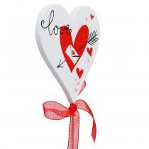 Wtyczka kwiatowa serce białe z kokardą 7cm 12szt.