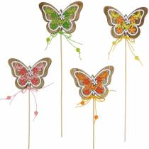 Kwiatek zatyczka motyl drewno wiosna dekoracja na patyku 12szt