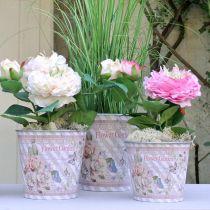 Doniczka metalowa róże letnia dekoracja sadzarka Ø15cm H15,5cm