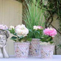 Doniczka metalowa róże letnia dekoracja sadzarka Ø13,5cm H11,5cm
