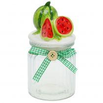 Szklana bombonierka z pokrywą owocową melon H15,5cm