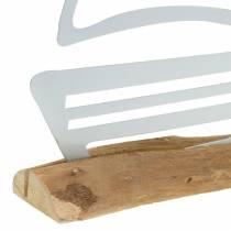Łódka na drewnianej podstawie metalowa biała 25cm H24,5cm