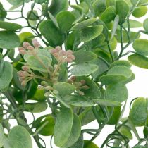 Dekoracja Ślubna Gałązki Eukaliptusa z Kwiatami Bukiet Dekoracyjny Zielony, Różowy 26cm
