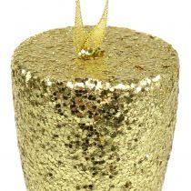 Wieszak na kieliszek do szampana jasny złoty brokat 15cm na Sylwestra i Boże Narodzenie