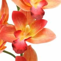 Orchidea Sztuczny Kwiat Cymbidium Pomarańczowy 74cm