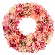 Wieniec z kwiatów dalii różowy, kremowy Ø42cm