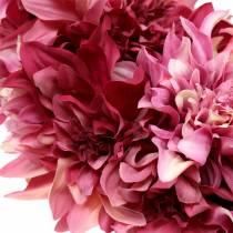 Wianek z kwiatów dalii old pink, mauve Ø42cm