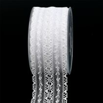 Wstążka dekoracyjna koronka 55mm 20m Biała