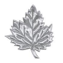 Ozdobne liście wykonane z jedwabiu 5cm srebro 60p