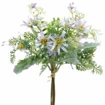 Bukiet Deco, Jedwabne Kwiaty Fioletowy, Wiosna Deco, Sztuczne Astry Goździki i Eukaliptus