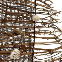 Łódź dekoracyjna z gałęziami i muszlami 38 cm