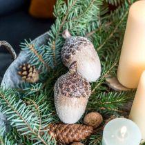 Dekoracyjne żołędzie śnieżne, dekoracja ceramiczna, adwent, zima jesień dekoracja L9,5 4szt.
