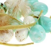 Jajka ozdobne nakrapiane miętowo białe 2,5-3cm 72p