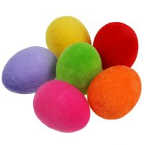 Jajka ozdobne flokowane kolorowe 4cm 18szt